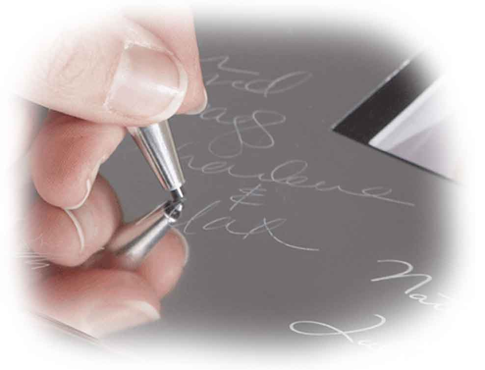 The beautiful alloy surface is signed with the easy to use Signature Engraving Scribe