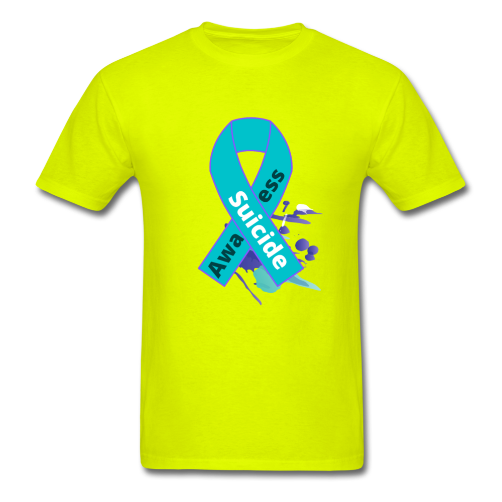 Men's T-Shirt- Suicide Awareness - safety green
