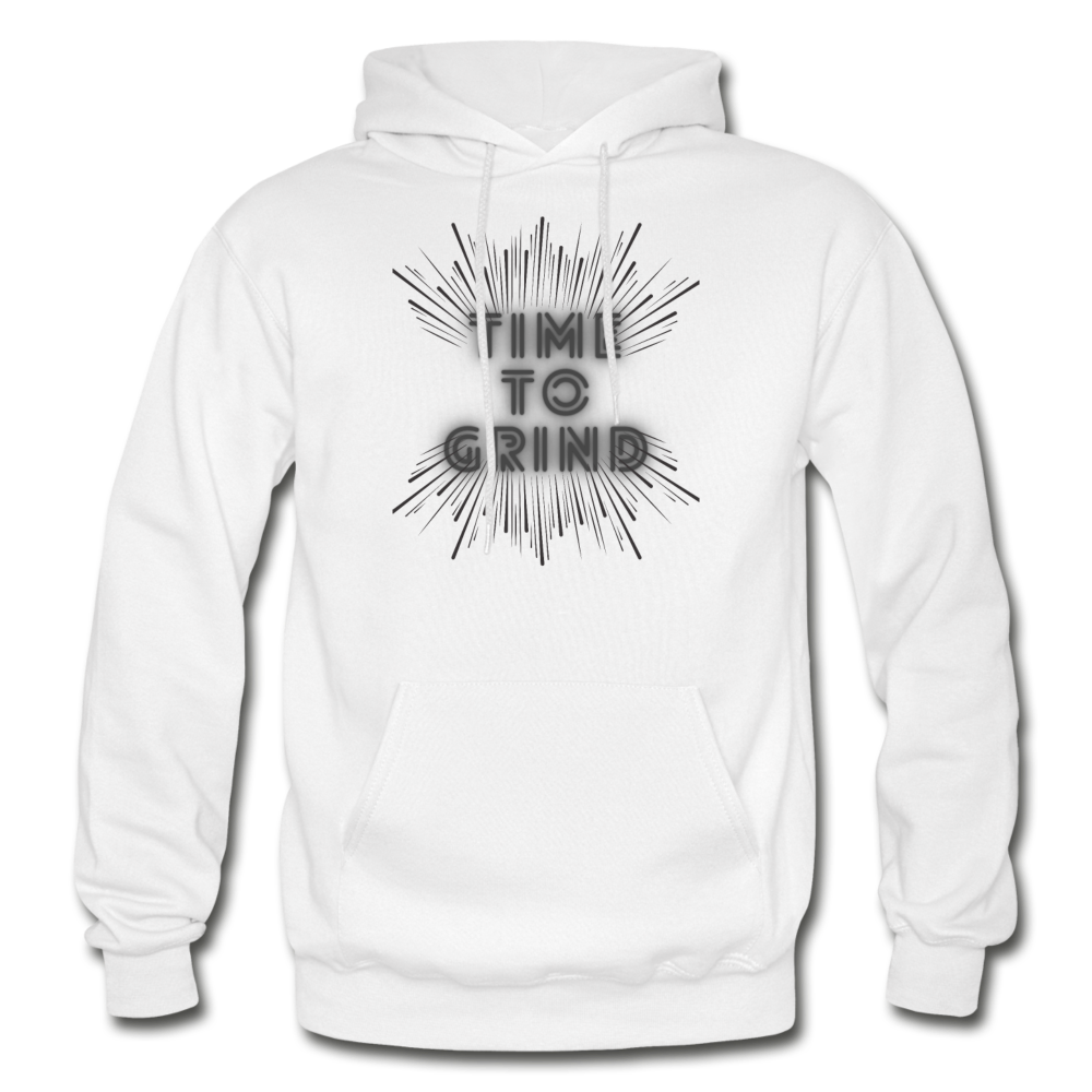 Men's Hoodie- Time To Grind - white