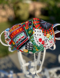 Handmade face mask of Las Vegas design.