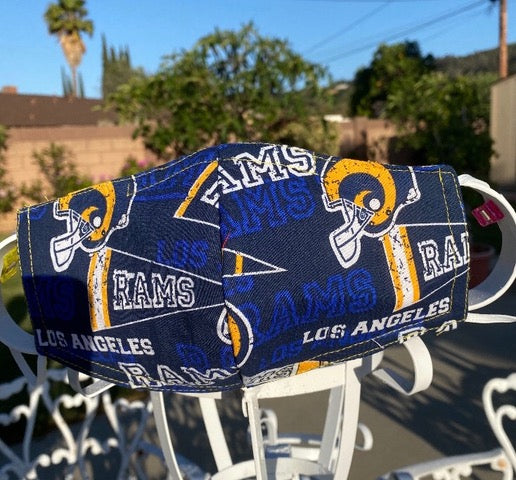 Handmade face mask of the LA Rams design.