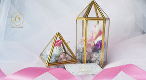 Basic Preserved Flower Arrangement in 2 Terrarium Glass Boxes-0104