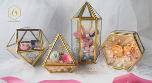 Basic Preserved Flower Arrangement in 4 Terrarium Glass Boxes