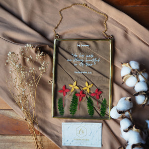 Glass Frame Painting & Pressed Flower (Hanging)