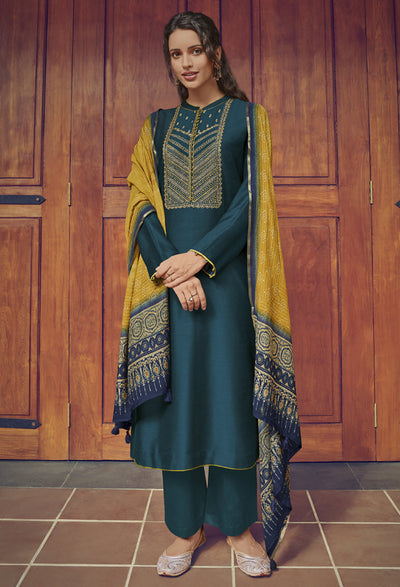 Nordic Green Kurta Set-Indian Wear-Label Varsha