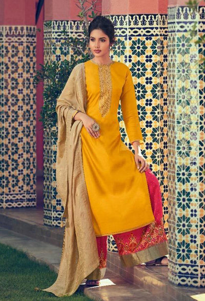 Golden Yellow Sharara Set-Indian Wear-Label Varsha