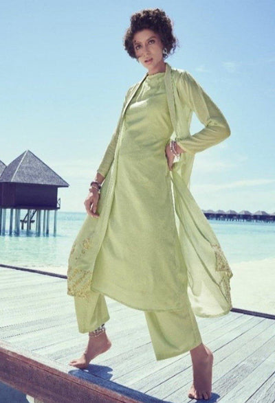 Light Pistachio Redefined Kurta Set-Indian Wear-Label Varsha