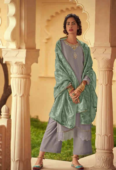 Fragrant Lilac Kurta Set-Indian Wear-Label Varsha