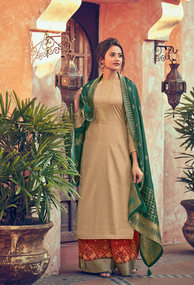 Beige Sharara Set-Indian Wear-Label Varsha