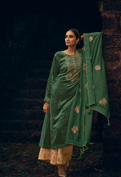 Basil Green Kurta Set-Indian Wear-Label Varsha