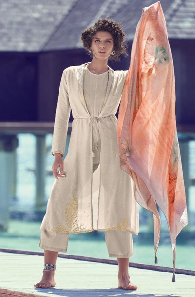 Neutral Grey Redefined Kurta Set-Indian Wear-Label Varsha