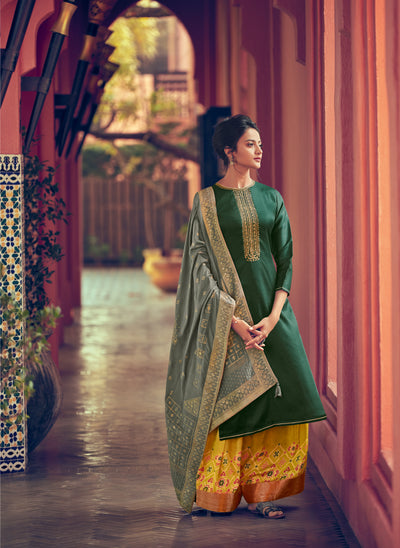 Forest Green Sharara Set-Indian Wear-Label Varsha