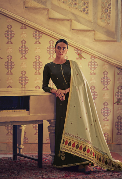Black Anarkali with Ghicha Silk Dupatta-Indian Wear-Label Varsha