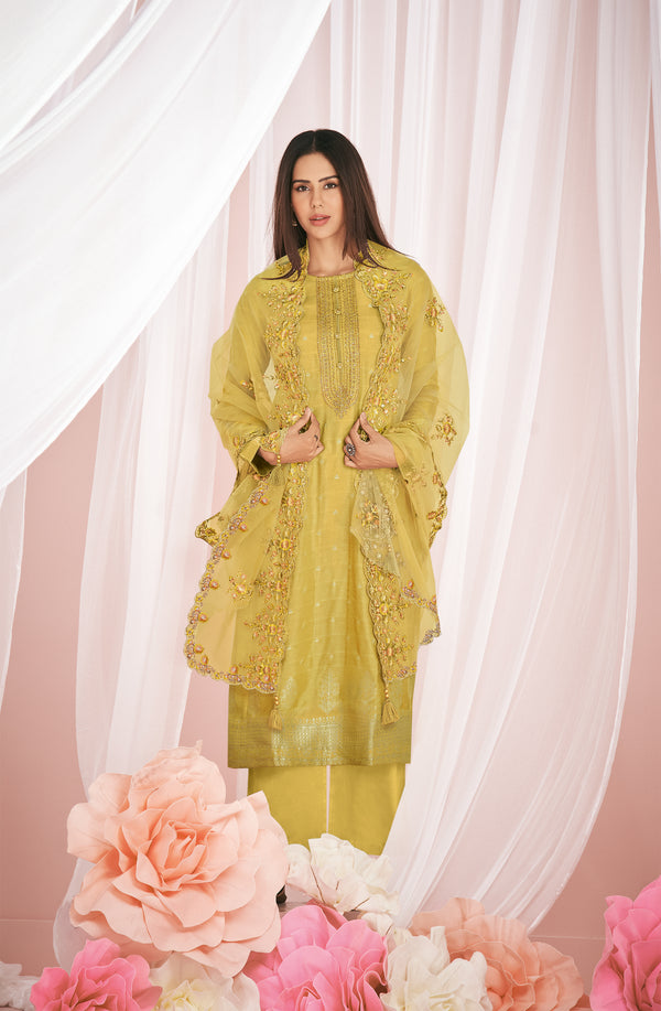 Sonam Bajwa in Daisy Yellow Kurta Set-Kurta Set-Label Varsha