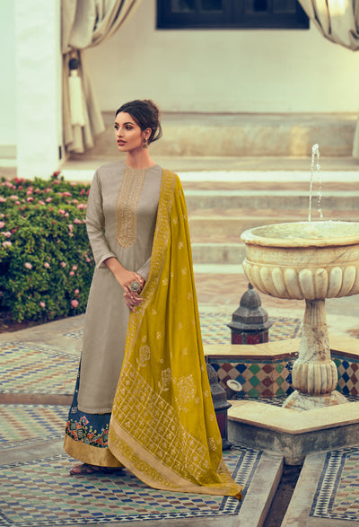 Stone Grey Sharara Set-Indian Wear-Label Varsha