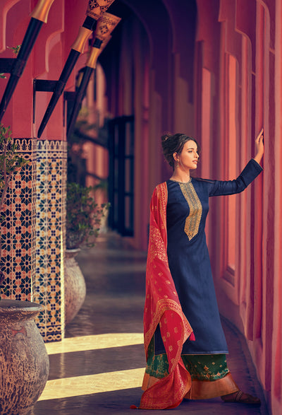 Navy Blue Sharara Set-Indian Wear-Label Varsha