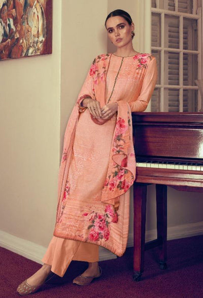 Light Peach Floral Kurta Set-Indian Wear-Label Varsha