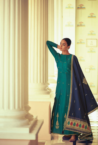 Turquoise Anarkali with Ghicha Silk Dupatta-Indian Wear-Label Varsha
