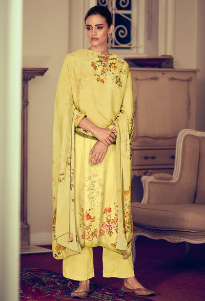 Flax Yellow Floral Kurta Set-Indian Wear-Label Varsha