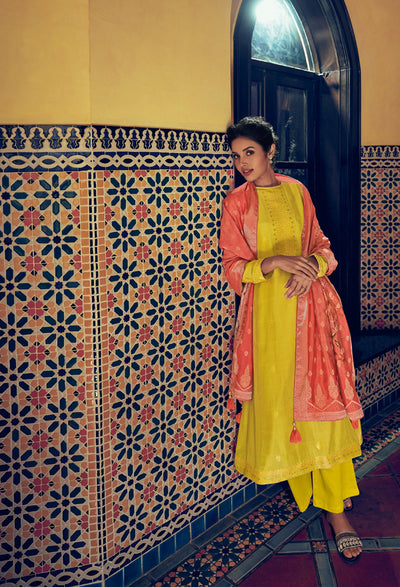 Canary Yellow Woven Kurta Set-Indian Wear-Label Varsha