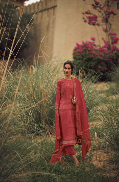 Candy Red Kurta Set-Indian Wear-Label Varsha
