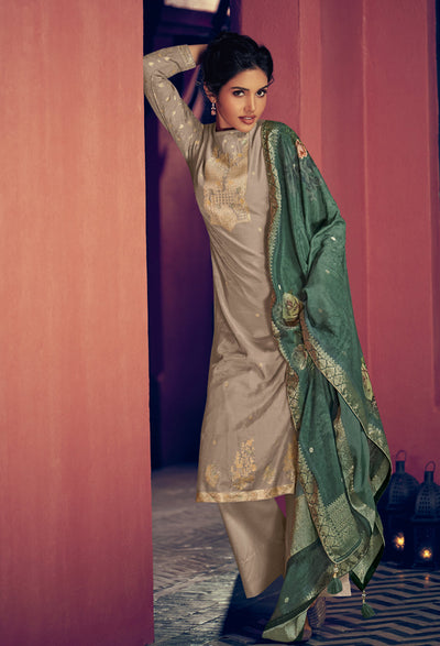 Dove Grey Woven Kurta Set-Indian Wear-Label Varsha