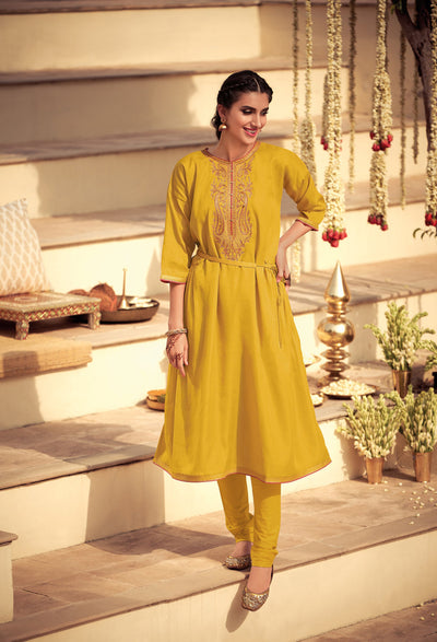 Sunny Yellow Bandhani Kurta Set-Indian Wear-Label Varsha