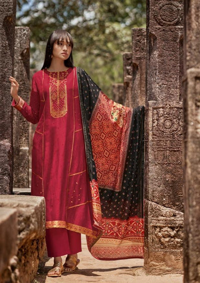 Ruby Red Kurta Set-Indian Wear-Label Varsha