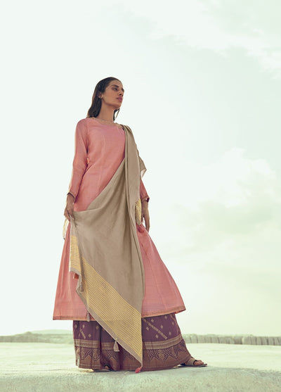 Blush Pink Redefined Sharara Set-Indian Wear-Label Varsha