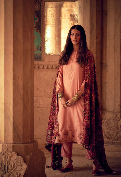 Rose Pink Silk Kurta Set-Indian Wear-Label Varsha