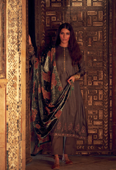 Steel Grey Silk Kurta Set-Indian Wear-Label Varsha