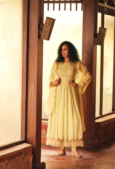 Soft Lemon Yellow Kurta Set With Chudidar-Indian Wear-Label Varsha