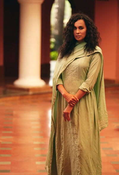 Sage Green A-line Kurta Set-Indian Wear-Label Varsha