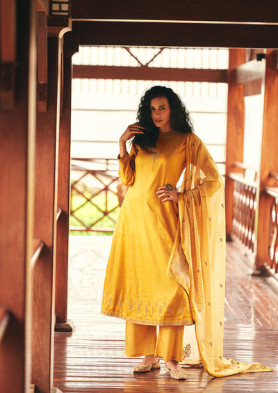 Mustard Yellow A-line Kurta Set-Indian Wear-Label Varsha