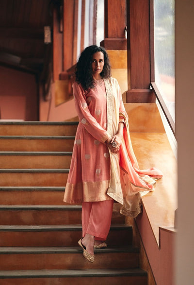 Rose Pink Kurta Set-Indian Wear-Label Varsha