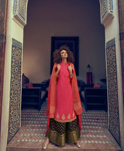 Cerise Pink Sharara Set-Indian Wear-Label Varsha