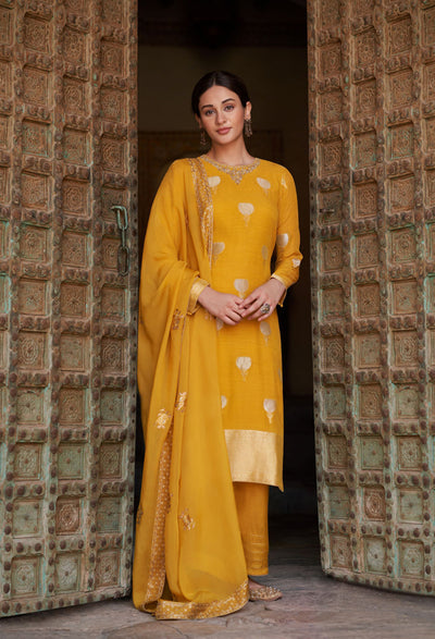 Sunny Yellow Straight Fit Kurta Set-Indian Wear-Label Varsha