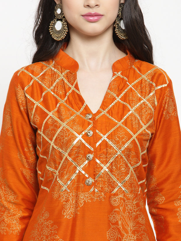 Get Glamr Women Silk High Low Flared Kurta