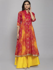 Women Pink & Orange Bandhani Foil Printed Anarkali Kurta With Mask