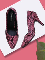 Women Neon Pink Animal Print Designer Pumps