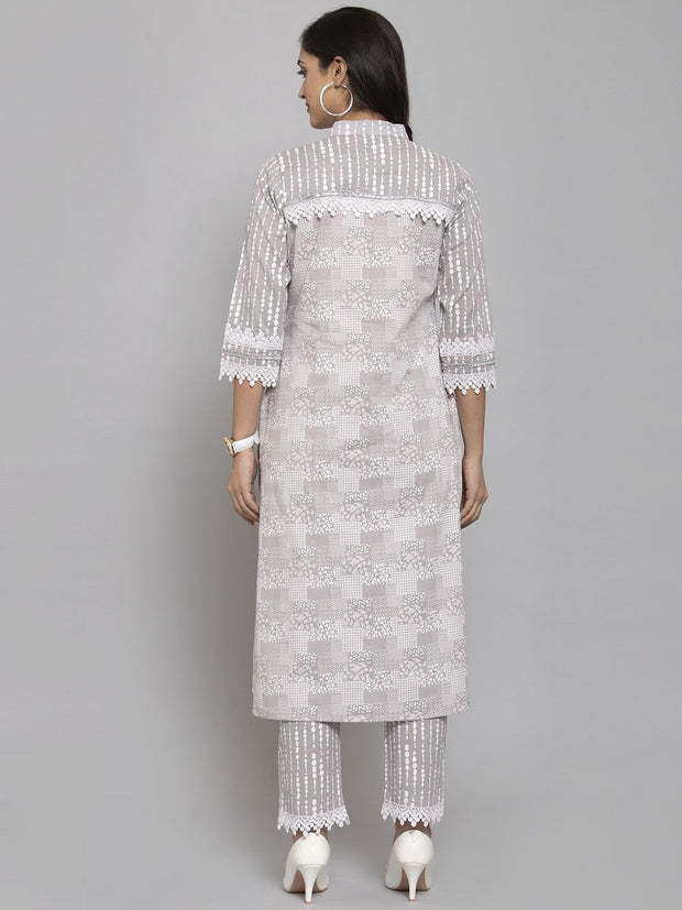 Women Grey Printed Kurta & Trousers Set with Matching Mask