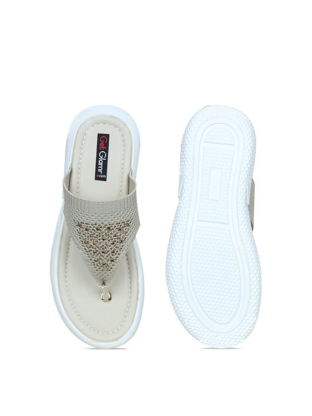 Women Cream Emblished Slip Ons