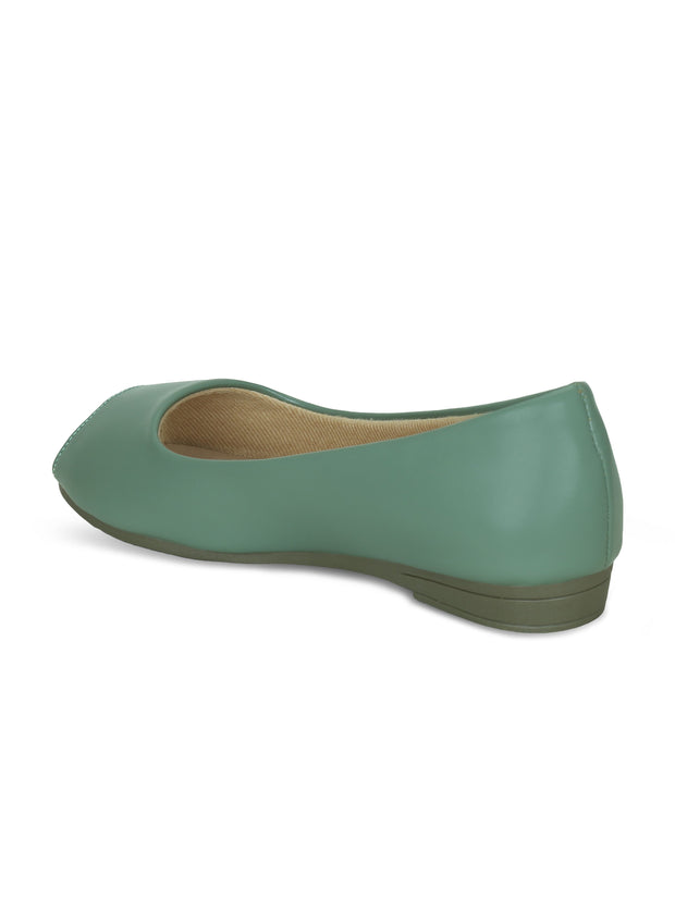 Women Green Classic & Comfortable Flat Peep Toes