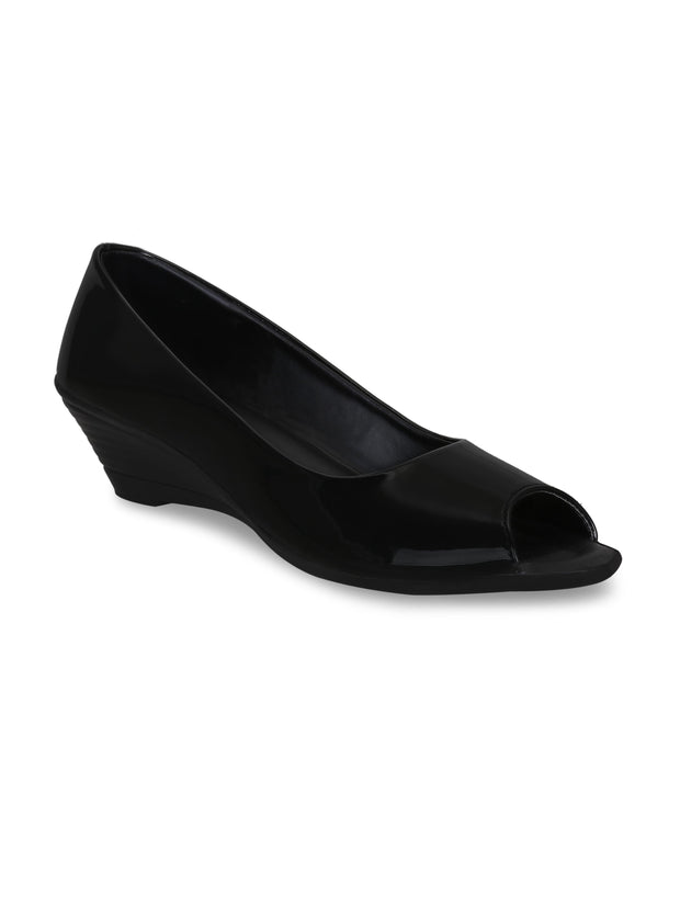 Women Semi Formal Designer Black Wedges Peep Toes