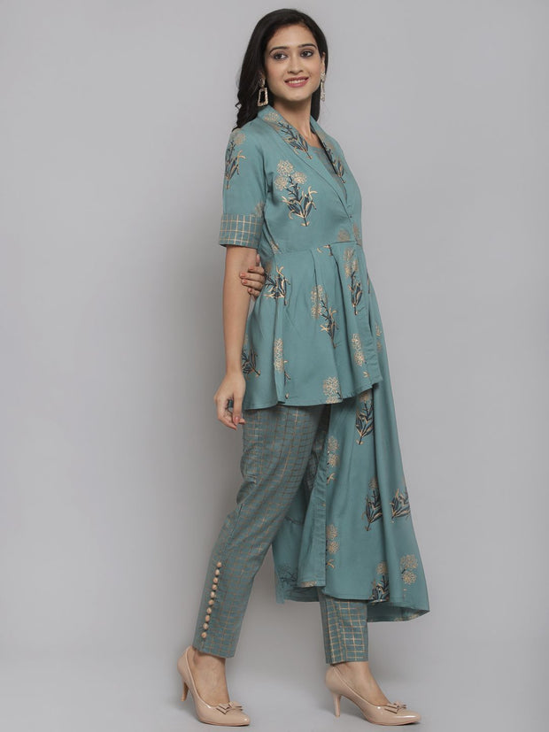 Women Green & Golden Foil Printed Top with Trousers and Ethnic Jacket