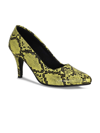 Women Neon Green Animal Print Designer Pumps