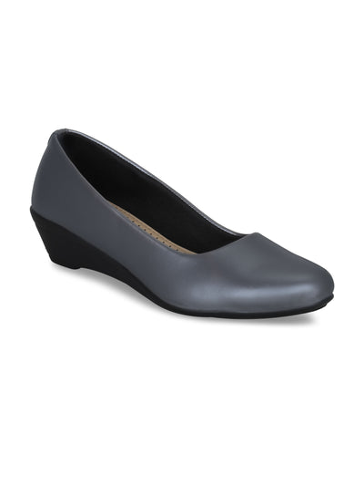 GET GLAMR Hand Made Designer Grey Wedges Pumps