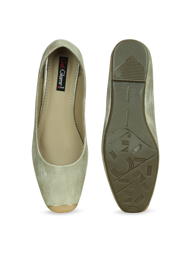 Women Gold Ethnic Ballerinas