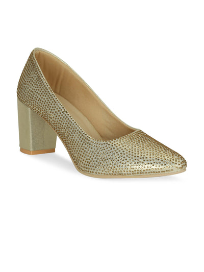 Women Gold Embellished Ethnic Pumps