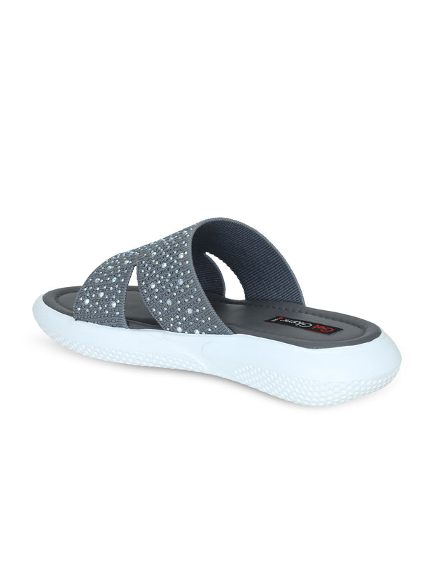 Women Grey Emblished Slip Ons